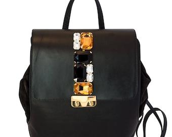 Leather backpack jewel Backpack Black crystal caramel-women handbag in leather handmade