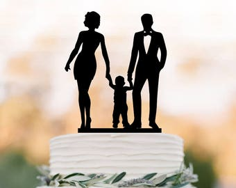 Family Wedding Cake topper with son,  funny wedding cake toppers with boy silhouette