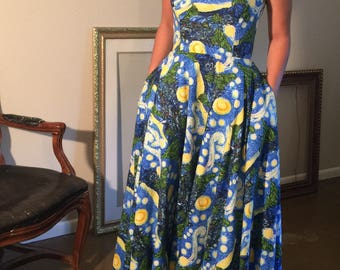 Incredible Starry Night Van Gogh blue and yellow print tea dress with sweetheart neckline, pockets and circle skirt