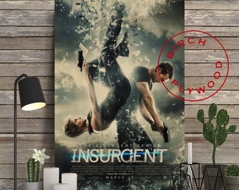 INSURGENT - Poster on Wood, Shailene Woodley, Ansel Elgort, Theo James, Kate Winslet, Movie Poster, Unique Gift, Wood Gift, Wood Wall Art
