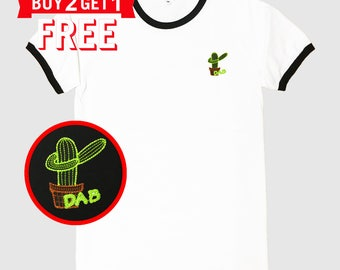 Cactus Dab Embroidered Ringer T-Shirt by 24PlanetsStudio