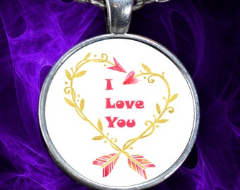 "I LOVE YOU Watercolor Arrow Heart Necklace Stylish Personal Valentine's Day Jewelry Pendant! Wear it proudly on 22"" silver plated necklace!"