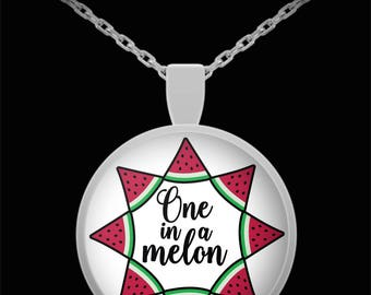 One In A Melon Necklace Valentine's Day Gift Jewelry Watermelon Funny Sweetheart Necklace Daughter Wife Gift
