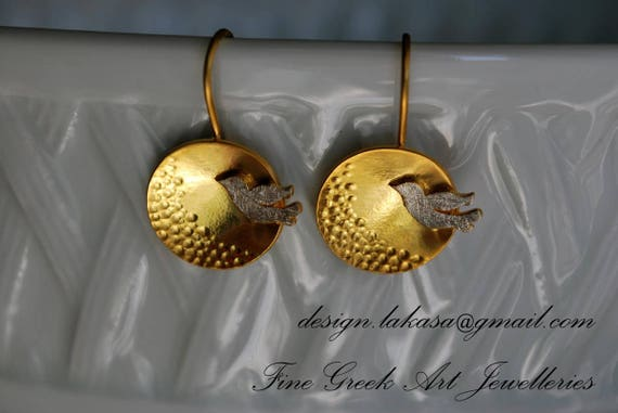 Dove Earrings Sterling Silver Gold plated Handmade Jewelry Romantic Style for her Birthday Anniversary Woman Mother day Love Peace Harmony