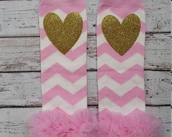 Baby Girl Leg Warmers,Glitter Baby Leg Warmers, Pink and Gold Birthday, First Birthday Outfit, Newborn Leg Warmers, Newborn Take Home