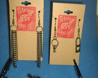Choose Bronze Metal earrings chain key lock keys heart love friendship gift idea earring set Key Collection chain lengths dangle unique cool