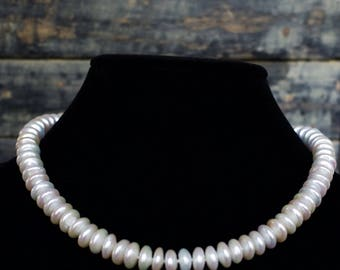 Fresh Water Coin Pearl Necklace with 14k Gold Clasp.