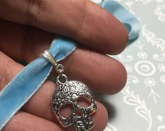 Sugar skull baby blue velvet choker