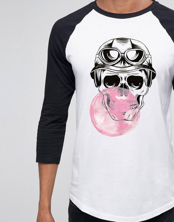 Sugar Skull | Bubble gum | Halloween | Unisex Raglan T-Shirt | 3/4 sleeves | Baseball shirt | Hand painted  Watercolor and ink tee design