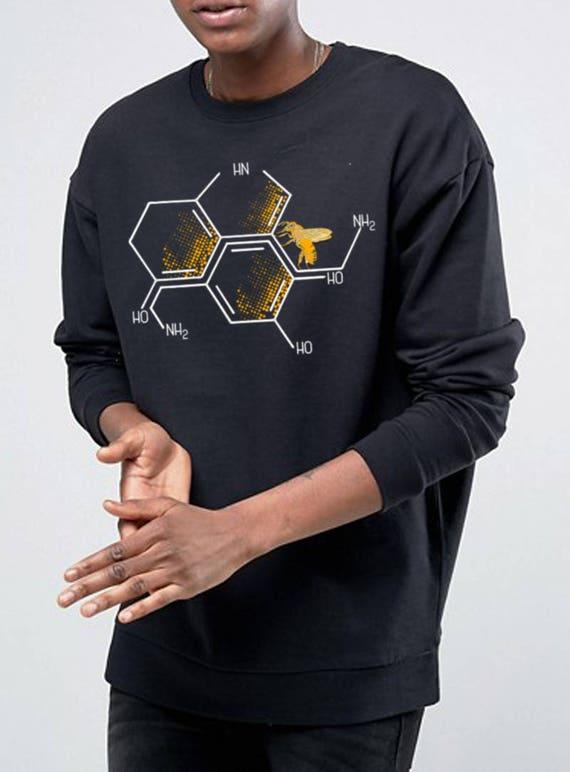 Nectar of Life | Unisex Heavy Blend Crewneck Sweatshirt | Serotonin and Dopamine chemical formulas| Bee honeycomb | Chemistry geek |ZuskaArt