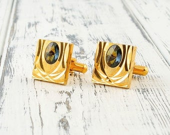 Geometric cufflinks Gold cufflinks Vintage cufflink Square cufflinks Diamond cufflinks Art nouveau cufflink Retro cuff links Men accessories