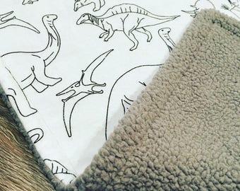Over-sized Lovey Blanket, Baby Lovey, Dinosaur Blanket, Baby Blanket, Security Blanket, Car Seat Blanket, Flannel Blanket, Sherpa Blanket