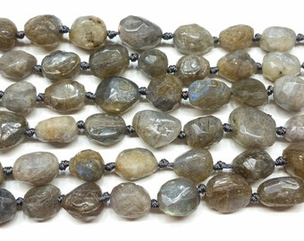 A+ Faceted Labradorite Round Nuggets approx 12mm 15.5""