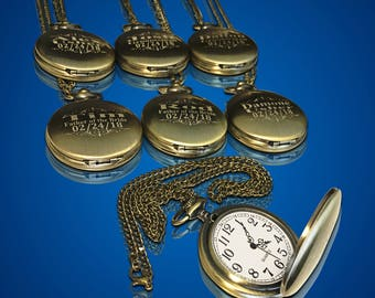 6 Personalized Pocket Watches - Groom gift - Groomsman - Couples gifts -Wedding gift set - Best Man - Man of Honor gift - Personalized gifts