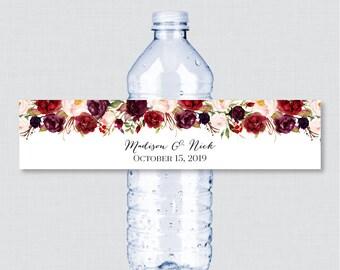 Printable OR Printed Wedding Water Bottle Labels - Rustic Marsala Flower Custom Water Bottle Labels - Personalized Water Bottle Labels 0006