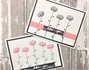 C016 - Handmade Daisy Hello You Greeting Cards - Friendship Card - Set of 2