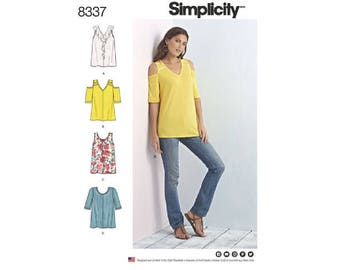 Simplicity 8337 - Misses' Knit Tops with Bodice and Sleeve Variations