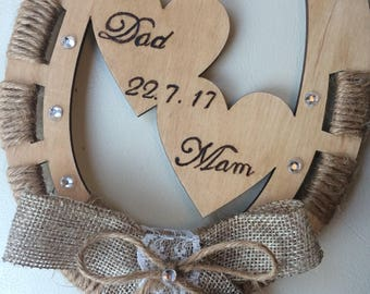 Personalised Wooden Lucky Horseshoe - Handmade Wedding Gift for Couples - Pyrography