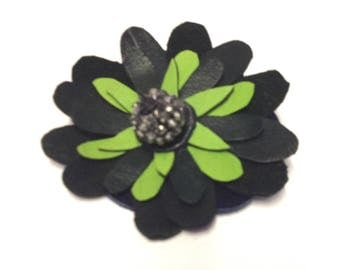 FLOWER BROOCH/ leather flower/ green brooch/ wedding corsage/ flower pin/ wedding accessory/ one of a kind/ gift for her