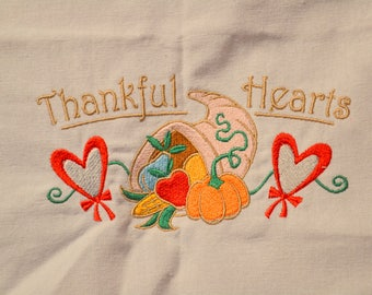 Thankful Hearts Thanksgiving Towel