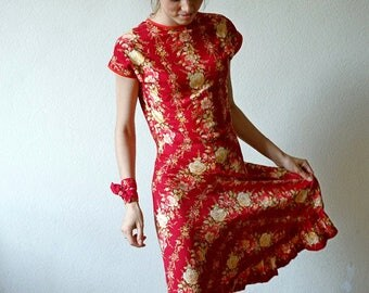 Retro floral pattern dress/short sleeve adorable red dress