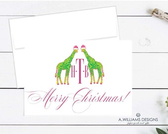 Monogrammed  folded Notecards/Preppy Giraffe Christmas note cards/Monogrammed Christmas note cards/Blank note cards/Thank You cards 3.5x5