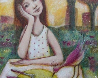 """""""Perfect day"""" painting 50 x 70 cm young woman terrace bird exotic Sun"""