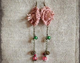 Bohemian Earrings,Crochet Earrings,Rose Earrings,Shabby Earrings,Shabby Chic,Princess,Fairy Earrings,Victorian Earrings,Poem,Hippie,Gipsy