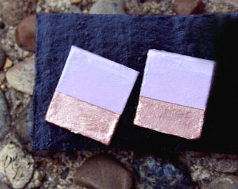 Lavender and Rose Gold Geometric Studs
