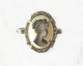 Edwardian 1900's Mother Of Pearl Marcasite Silver Carved Cameo Rococo Ring Size Q