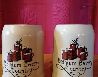 Pair of beer mugs Belgium beer country