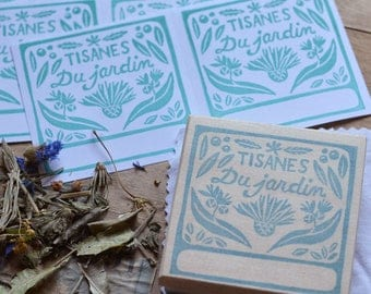 Stamp herbal garden, engraved by hand