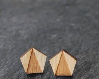 Pentagon Studs Wooden Geometric Jewelry Minimalist Gift Unisex Earrings Laser Cut Design Studs Pentagon Shape Wood Laser Engraved Studs