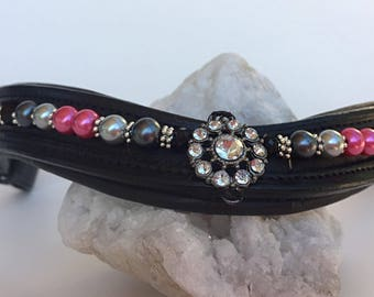 Black and Pink Pearl Browband