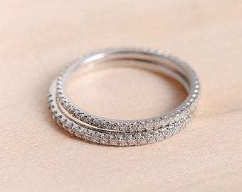 Diamond Wedding Band White Gold Half Eternity Band Bridal Set Unique Promise Stacking Thin Simple Dainty Anniversary Gift for Her Women