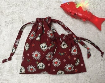Burgundy Red smallbags printed Christmas - 2 sizes - reusable bags - zero waste