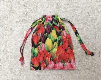 smallbag photo printed tulips - cotton - reusable bag - zero waste canvas