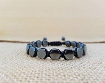 Hexagon Hematite macrame bracelet