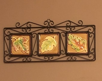 3 Leaf Tiles in Decorative Metal Wall Hanging - Fall Leaf Tiles - Gold and Green - Home Decor