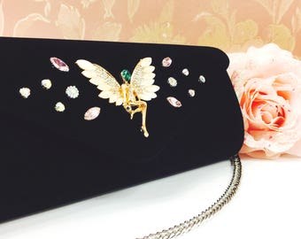 Velvet Bridesmaid Crystal Fairy Clutch, Evening Clutch, Gift for Bridesmaids