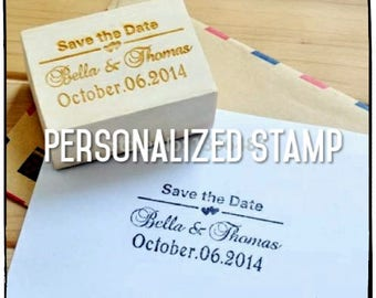 Personalized wedding stamp, Wood stamp Wedding Invitation, Save the Date, Customize Stamp with Your names&date, 5 styles