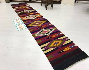 RUNNER kilim  rug,turkish kilim runner rug,anatolian runner rug,oushak kilim runner rug,turkish rug 2''5 x 12''8 ft.hallway RUNNER rug