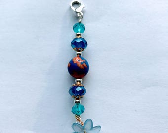 Blue Flower zipper pull charm // Blue Beads zipper pull charm