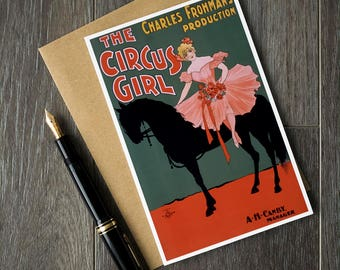 circus girl note card, circus girl birthday card, horse birthday card, cute retirement card, vintage greeting card, vintage movie poster art