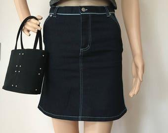 90s 00s Y2K Fiorucci Denim Skirt w/ Blue Piping Cyber Rave Club Kid Bratz Spice Girls XS S Small