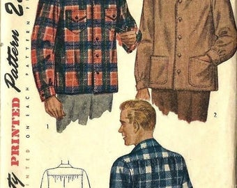 """Vintage 1940's Sewing Pattern Man's Shirt, Patch Pockets Chest 38""""- 40"""""""