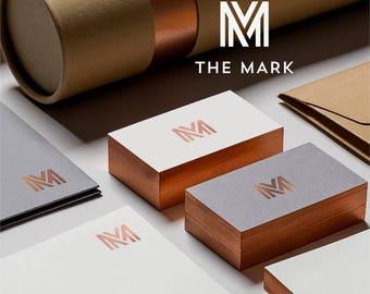 Watermark logo, Custom logo design, geometric logo, Branding, unique logo design, modern logo, Business card template, Stationary, ooak logo