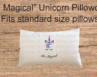 "Unicorn pillowcase ""Be magical"", unicorn pillow case for girls, cute unicorn, sleeping unicorn pillowcase, sublimation pillowcase"