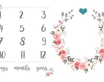 Pink and Gray Floral Wreath Milestone photo mat, monthly Baby Blanket, Monthly Blanket, Monthly Photo Blanket, Baby Girl Gift, Baby age