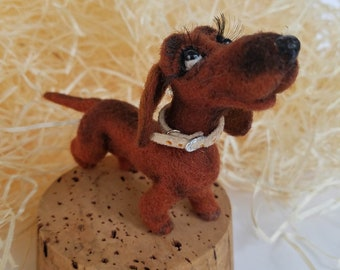 Felt dog - Dachshund, Felt dog toy, Needle felted dog, Needle felted dog miniature, Needle felted animal, Felt dog brown, Felt toys, felt